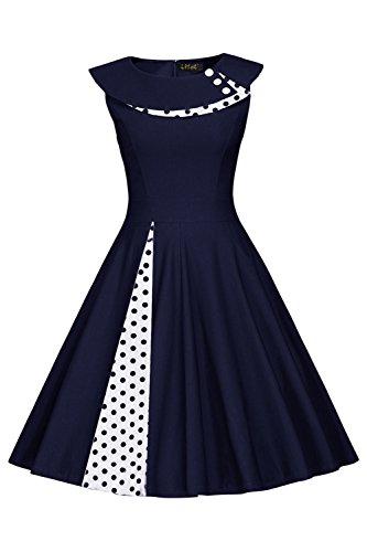 1950er Vintage Polka Dots Kleid Retro Rockabilly Audrey Hepburn Kleid Cocktailkleid Pinup M