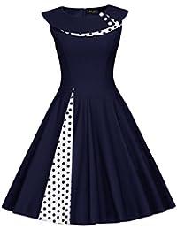 bf56a5d86cc1 MisShow® Damen 1950er Vintage Polka Dots Kleid Rockabilly Parykleid  Cocktailkleid Audrey Hepburn Pin up Gr
