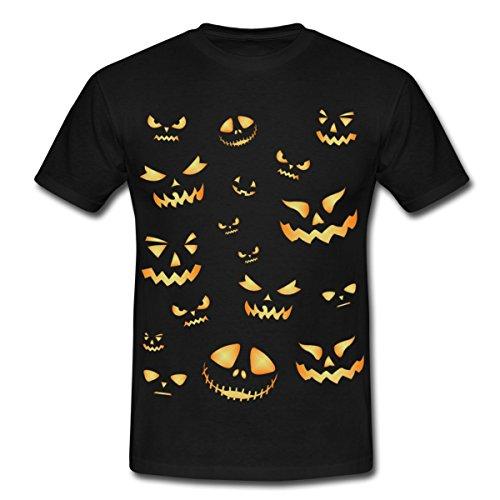 Spreadshirt Halloween Gesichter Männer T-Shirt, 4XL, Schwarz (Gesichter Jackolantern Halloween)