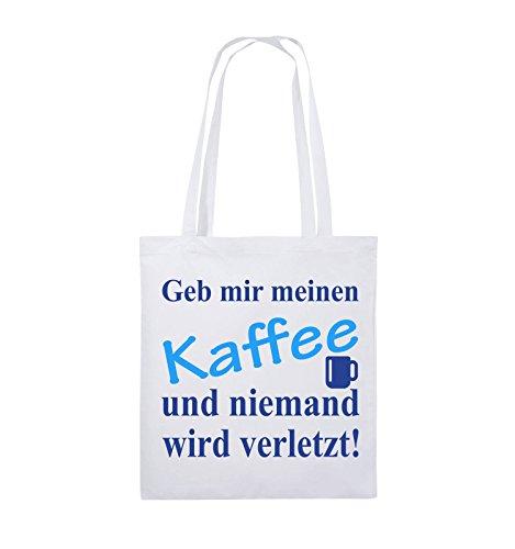 Comedy Bags - Geb mir meinen Kaffee und niemand wird verletzt! - Jutebeutel - lange Henkel - 38x42cm - Farbe: Weiss / Royalblau-Hellblau Weiss / Royalblau-Hellblau