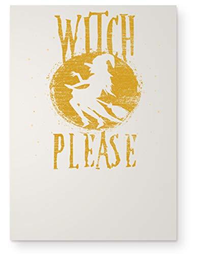 Shirtee Witch Please - Hexe Bitte - Hexen Halloween Kostüm 31. Oktober Geisterstunde Horror Nacht - DIN A3 Poster (hochformat) -Einheitsgröße-Vintage Weiß