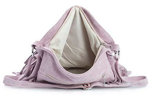 BHBS Bolso de Noche para Dama en Cuero Gamuzado con Flecos en el Frente 32x26 cm (LxA) Topo Oscuro (BH142)