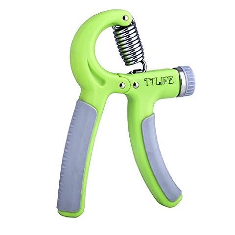 TTLIFE Poignée d'exercices de musculation pour main - Gripper ou Hand grip - Poignée de mesurer la force - Poignée de main pour le renforcement de la main et de l'avant-bras ( Vert )