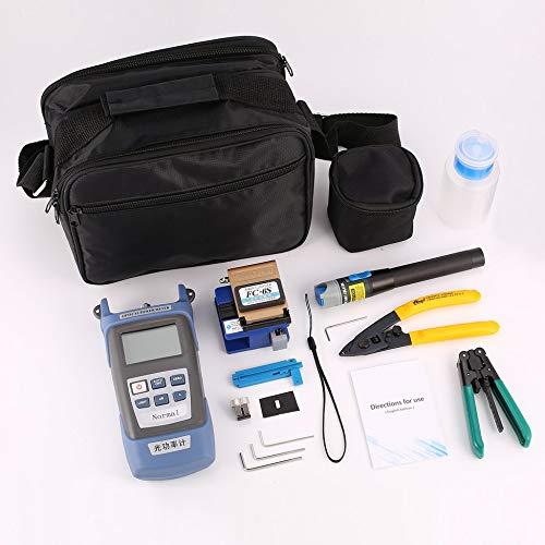 JesseBro76 FTTH Fiber Optic Tool Kit Faserabschneider Optisches Leistungsmessgerät Abisolierzange Schwarz