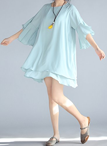 ELLAZHU Damen Sommer Rundhals Einfarbig Chiffon Kleid GA661 Blau