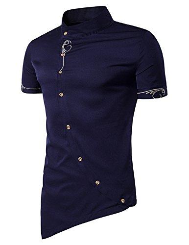 YCHENG Camisa de Caballero Hombre Asimétrico Botón Bordado Manga Corta Cuello Mao de Boda Fiesta