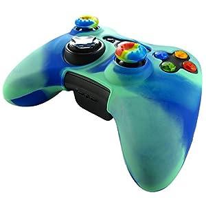 Pandaren® Silikon hülle skin für Xbox 360 controller (Licht grün + blau) x 1 + thumb grip aufsätze x 2
