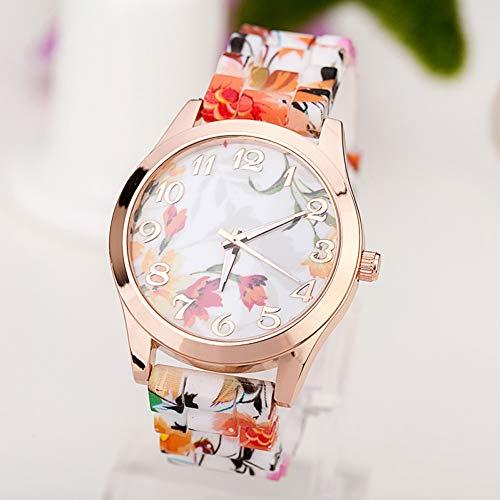 WLFPEG Mode quarzuhr Rose Blumendruck silikon Uhren Frauen Uhr mädchen floral Jelly Sport armbanduhren