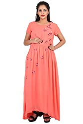 9teenAGAIN Womens Embroidered Maternity Dress (Peach,2 Extra Large)