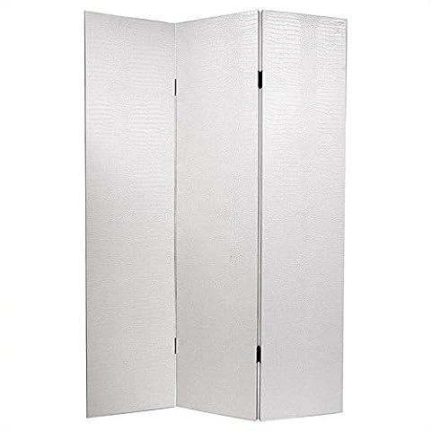 Oriental Furniture Elegant Modern Design, 6-Feet Faux Leather White Crocodile Skin Textured Vinyl Folding Screen Room Divider