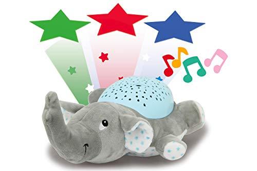 Jamara 460432 Sternenlicht Dreamy Elefant Sternenhimmel Projektion, Stern-/ Mondmuster, LED wechselnde Farben, beruhigende Melodien, Licht EIN/aus, Abschaltautomatik, grau