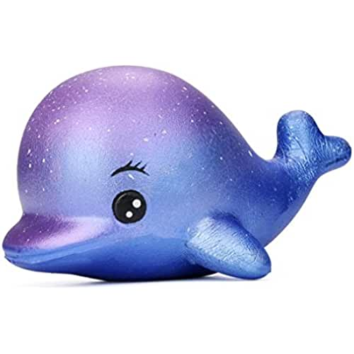 mini kawaii miniaturas kawaii Squishys Exquisito divertido delfín mini kawaii Cute Squishies Toy Stress Relief Juguete Suave Slow Rising colorido suave perfumado Slow Rising Juguetes niños juguete regalo Colgantes para móviles (12cm Galaxy Dolphin)