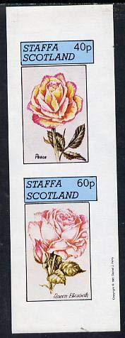 Staffa 1981 Roses #2 (Peace & Queen Elizabeth) imperf set of 2 values (40p & 60p) u/m FLOWERS ROSES PEACE JANDRSTAMPS (9500)