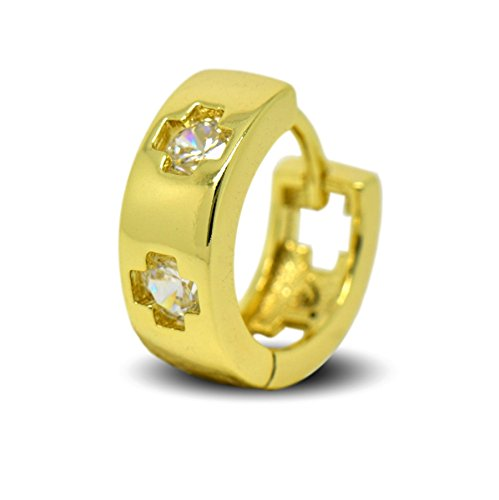 Blue Diamond Club - 9 Karat Gold gefüllte Herren-Ohrringe Kreolen Kreuze mit weißen Zirkonia-Kristallen
