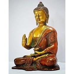 20,32 cm arma de juguete amuleto de Buda estatua de tamaño grande, de Bagan Yoga latón tallado Escultura Figura de chino Thai Decor figura de diseño de madera envejecida Yin Happy craftvatika