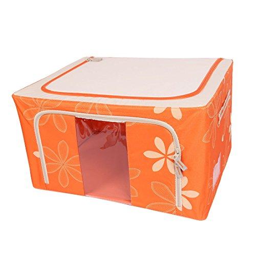 sourcingmap Vlies Blumen Muster Kleidung T-Shirt Jeans Socken Aufbewahrungsbox Orange (Einfache Muster Socken)