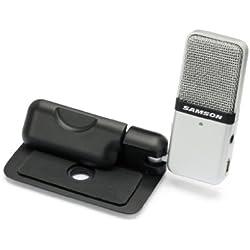 Samson SAGOMIC - Micrófono dinámico (condensador, conector USB, con clip), color blanco