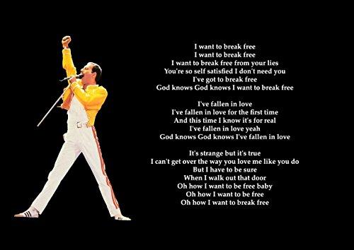 Queen–I Want To Break Free–Liedtext–tolle Rock Metall Album Cover Design Musik Band beste Foto Bild Einzigartige Print A4Poster