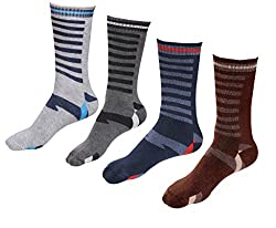 Indiweaves Mens Cotton Socks (Pack of 4 Socks)-Grey/Grey/Blue/Brown