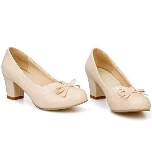 COOLCEPT Mode-Event Damen Blockabsatz Pumps Slip on Party Shoes Sweet Mit Bogen Beige