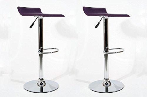2x sgabello da bar viola Finta pelle regolabile in altezza