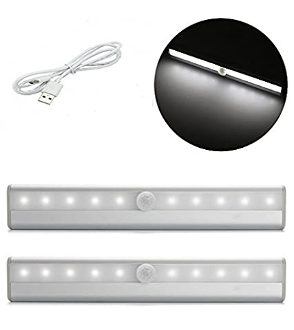 DIKETE® 2pcs Motion Sensor Wardrobe Light, Wireless Rechargeable PIR Activated Stick-on 10 LED Lamp, Cabinet Cupboard Closet Stairway Emergency Night Lighting, Removable Magnetic Strip Instant ON/OFF