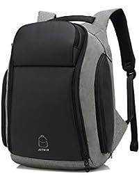 8554107bbd98b JOTHIN Leinwand Rucksack Groß Schultasche Herren Laptop Backpack 15.6 Zoll  Modern Business Daypacks Arbeit Wasserdicht…
