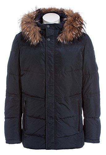 G305 Herren Jacke SNOWIMAGE mit Echtfell Kapuze (Länge: 78 cm) Daunen-optik Winterparka lang Outdoor realfur man padded coat Grau (Antrazit)