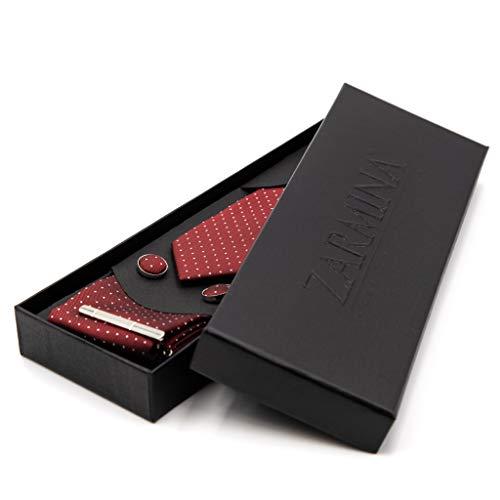 ZARMINA®   Herren Premium Krawatten-Set   inkl. Krawatte + Einstecktuch + Manschettenknöpfe + Krawattennadel in einer eleganten Geschenkbox (Bordeaux Rot)