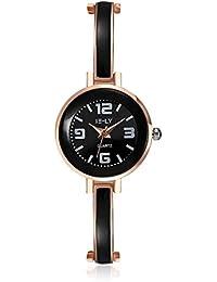 lekima encanto pulsera reloj esfera redonda pequeña anologue Lovely de cuarzo aleación banda reloj de pulsera regalo para las niñas Lady mujeres–oro rosa negro