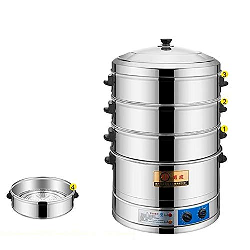 JIANGU Dampfgarer kann frei gestapelt werden Korb Glasabdeckung Edelstahl Mehrzylinder tragbar für 16, 18 und 20 cm-Fourfloors