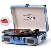 dodocool Tocadiscos Bluetooth, de Estilo Vintage,RPM 33/45/78, RAC y Grabación por USB y Tarjetas SD, asa Para Transporte, Compacto y Portátil, Azul