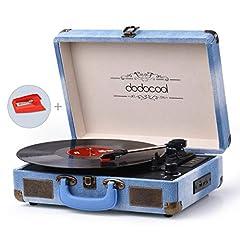 Idea Regalo - dodocool Giradischi Bluetooth a 3 Velocità (33 1/3 /45/78 Giri), Vintage Vinile Giradischi con 2 Altoparlanti Integrati, Presa RCA e Ingresso AUX/USB/Scheda SD, Converte il Vinile in MP3