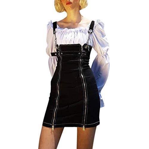 Floral Bohemian Frauen Street Gothic Style Punk Schwarz Retro Unregelmäßiger Reißverschluss Denim Straps Kleid ()