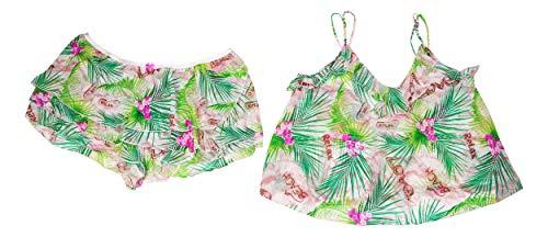 Betsey Johnson Knit Chiffon Top & Shorts Tropical 2-Piece Pajama Set Betsey Johnson Rock