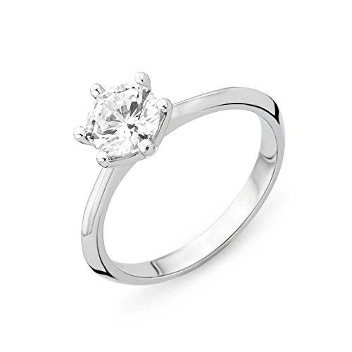 Miore Bague Solitaire - Argent 925 - Diamant de synthèse - T56 - MSAE059R6