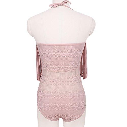 Damen ärmellos Schlinge Schlank Jumpsuit Bikini Reizvolle Fransen Rückenfrei Bikini Sets Neckholder Bandage Bademode Strandmode Frauen Badeanzüge Sommer Rosa