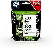 HP 300 CN637EE, Pack de 2, Cartuchos de Tinta Originales Negro y Tricolor, compatible con impresoras de inyecc