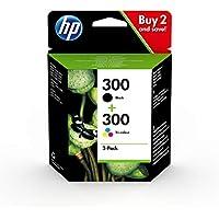 HP 300 CN637EE, Pack de 2, Cartuchos de Tinta Originales Negro y Tricolor, compatible con impresoras de inyección de tinta HP DeskJet D2560, D2660, F4280, F4224, F4283; Photosmart Serie C