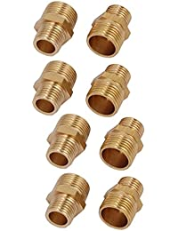 Tradico® 3/8BSPx1/4BSP Male Thread Brass Hex Nipples Pipe Fittings Connectors 8pcs