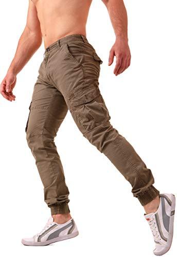 6b11b9e1d8eb3e Zoom IMG-3 pantaloni cargo uomo con tasche. Pantaloni uomo cargo con tasche  laterali slim Fit stile militare con elastico alla caviglia .