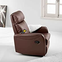 Sillón relax con masaje y calor lumbar modelo SLIM color mixto chocolate – Sedutahome