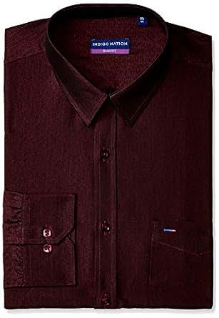 Indigo Nation Men's Dress Shirt (8907130733810_1ISD5292_39_Maroon)