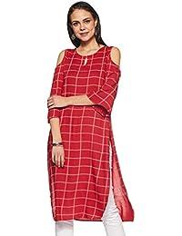 Red Rayon Checks Pathani Kurta