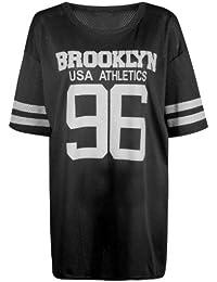 Fast Fashion Damen Flügelärmel Brooklyn 96 Druck Baseball Varsity Baggy oben