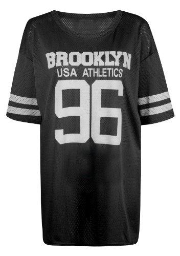 football trikot damen Fast Fashion Damen Flügelärmel Brooklyn 96 Druck Baseball Varsity Baggy oben