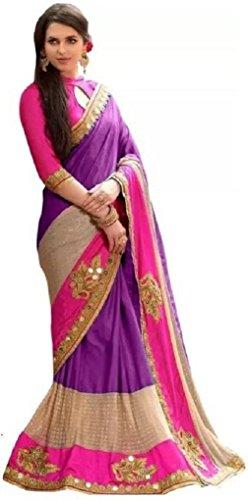 Arawins Art Silk Saree With Blouse Piece (Prasang_Purple_Sari_Purple_Free Size)