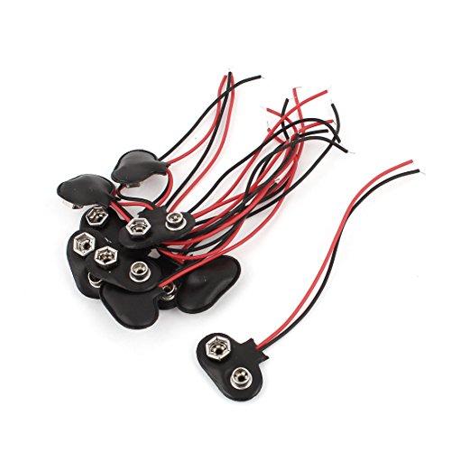 Schwarze Lautsprecher-draht-clips (sourcingmap® 10 Stk schwarz rot Kunstleder Haus T Typ Draht 9V Akku Clip Stecker)
