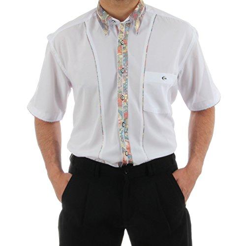 Designerhemd in Weiß, für Herren BESTE QUALITÄT, HK Mandel Freizeithemd Kurzarm Normal Nicht Tailliert, 2026 Weiß