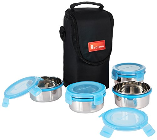 Solimo Stainless Steel Lunch Box Set with Bag, 300ml, 11cm Diameter, 4-Pieces, Blue Lid